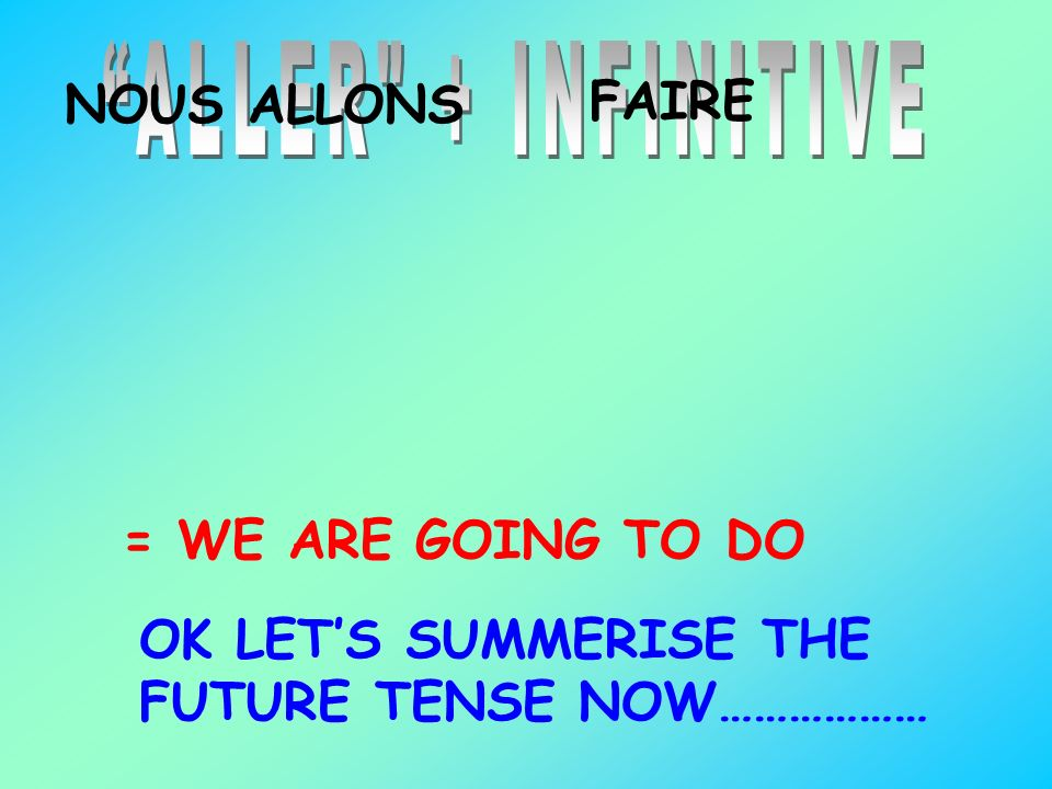 ALLER + INFINITIVE NOUS ALLONS. FAIRE. = WE ARE GOING TO DO.