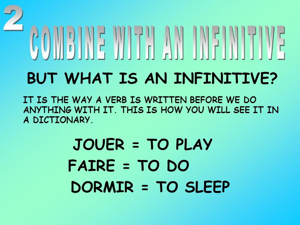 COMBINE WITH AN INFINITIVE