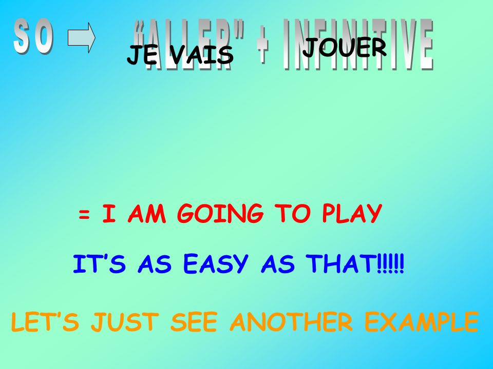 SO ALLER + INFINITIVE. JOUER. JE VAIS. = I AM GOING TO PLAY.