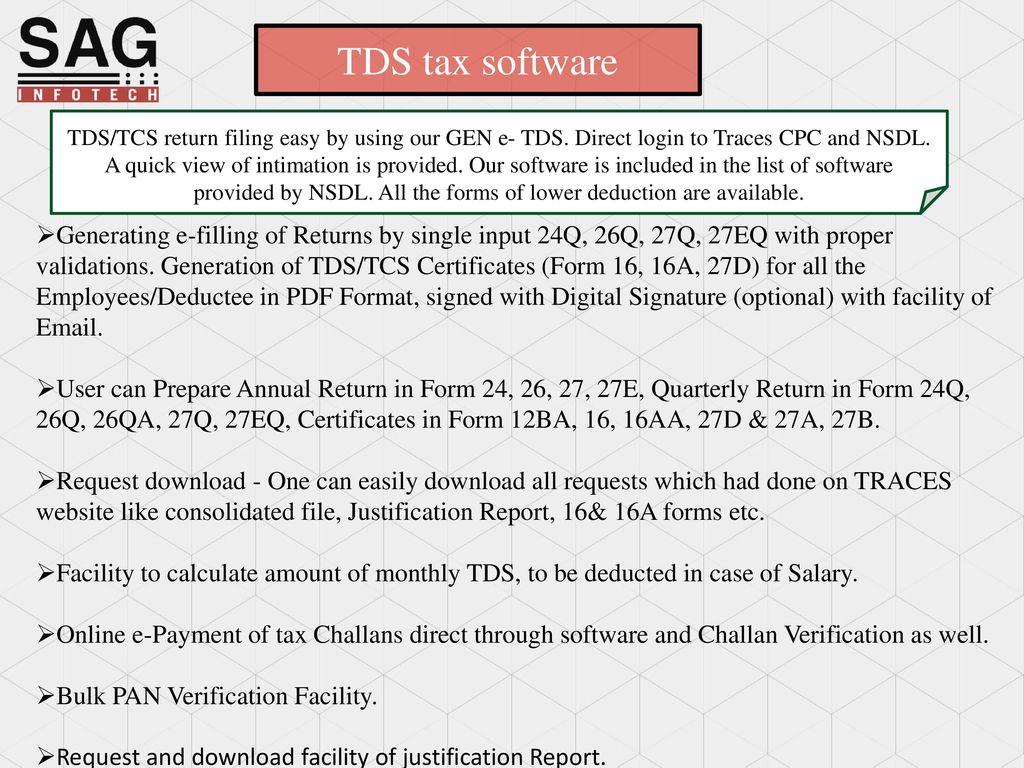 Service begins here… TDS software SAG INFOTECT PVT  LTD  - ppt download