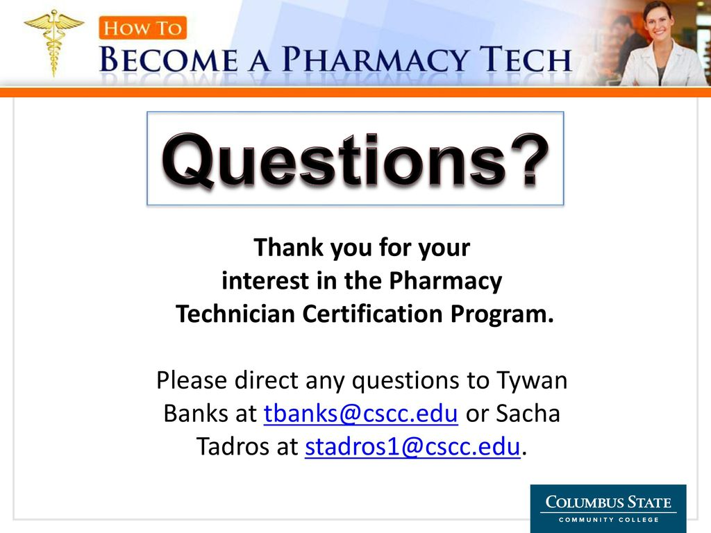 Pharmacy Technician Certificate Summer And Autumn Ppt Download