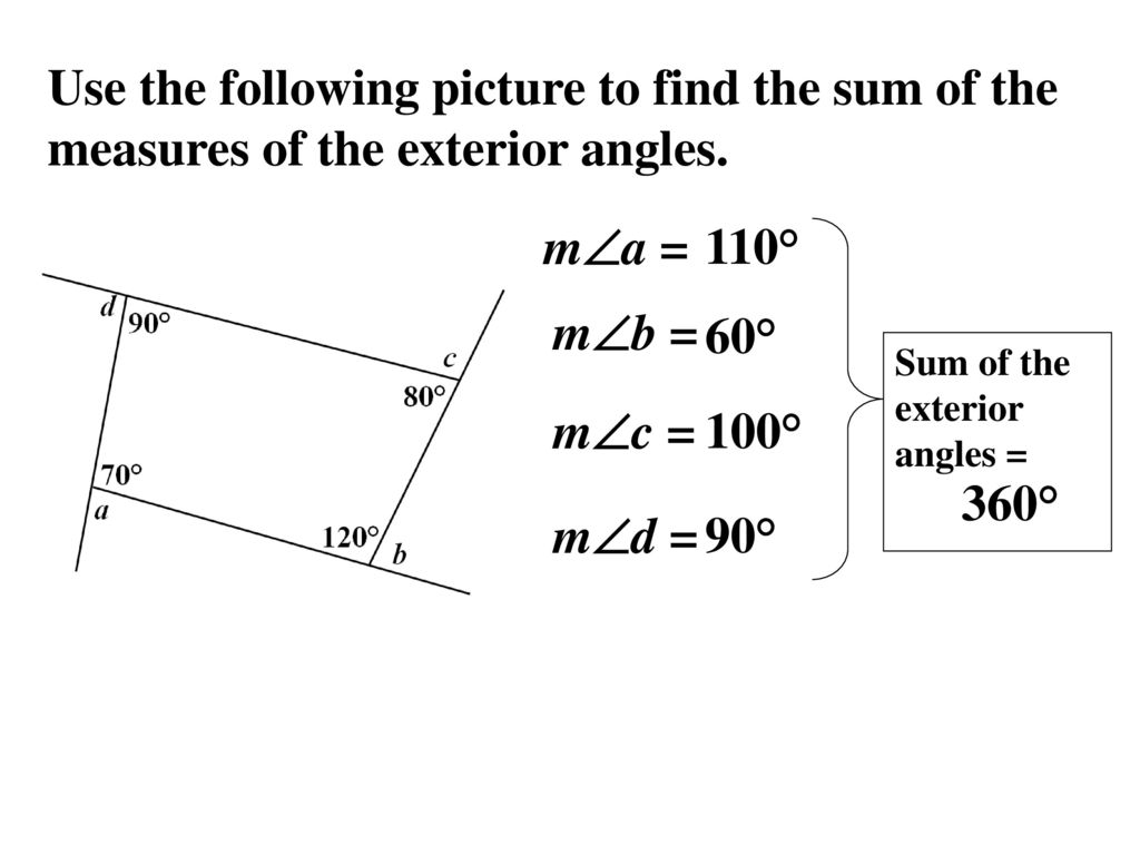 8 1 find angle measures in polygons ppt video online - Which of the following are exterior angles ...