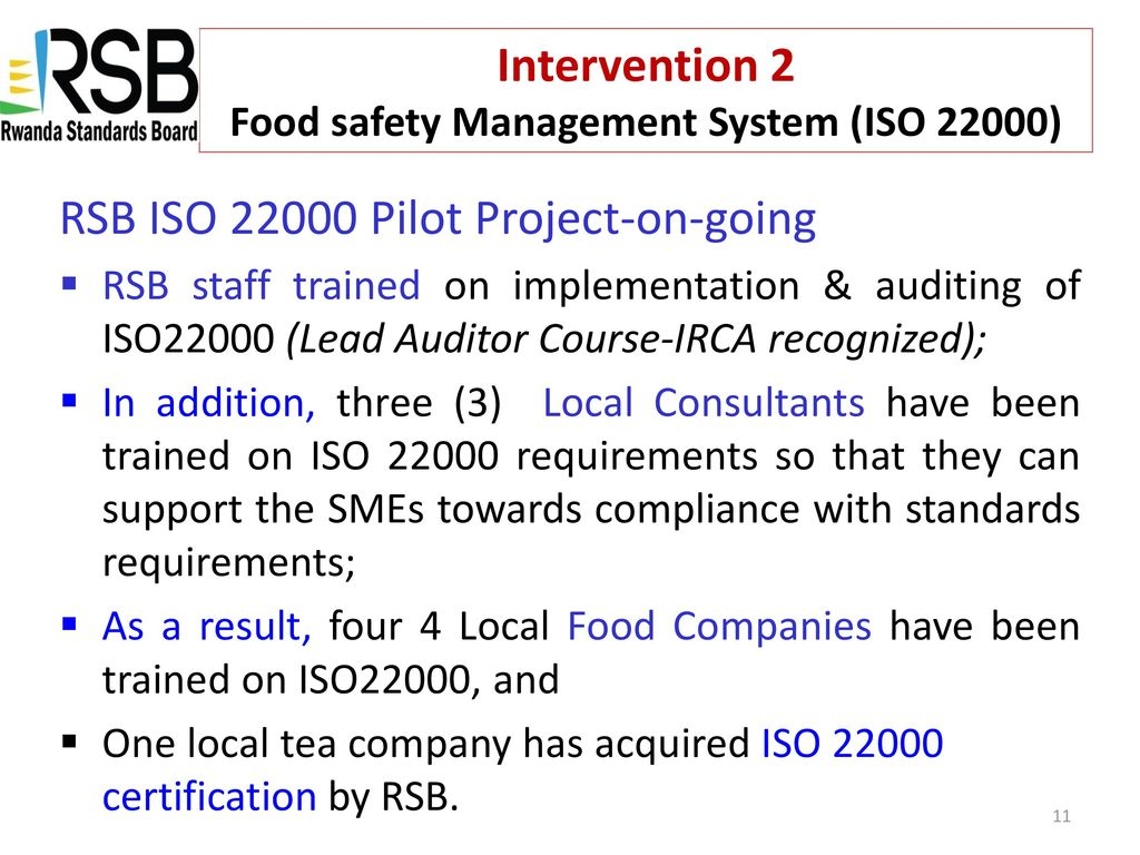 RSB SUPPORT OF SMEs TO COMPLY WITH HACCP REQUIREMENTS - ppt