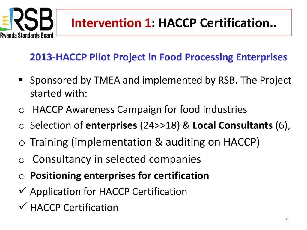 Rsb Support Of Smes To Comply With Haccp Requirements Ppt Download
