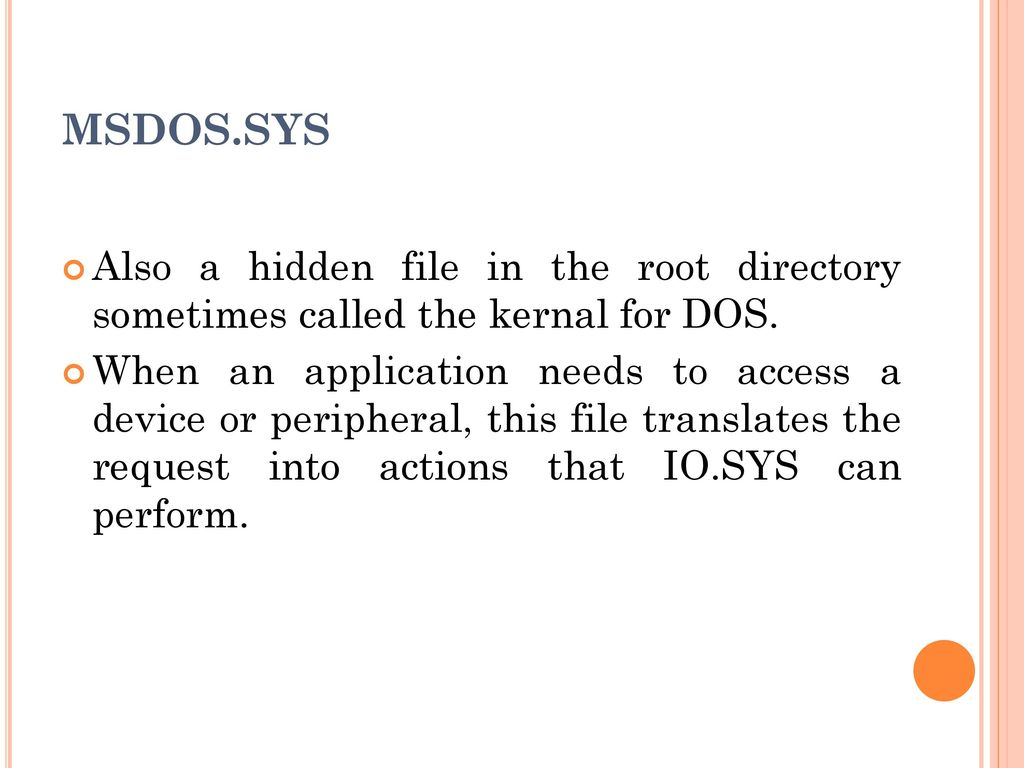DOS MS-DOS stands for Microsoft Disk Operating System  MS-DOS controls the  computer's hardware and provides an environment for programs to run  This