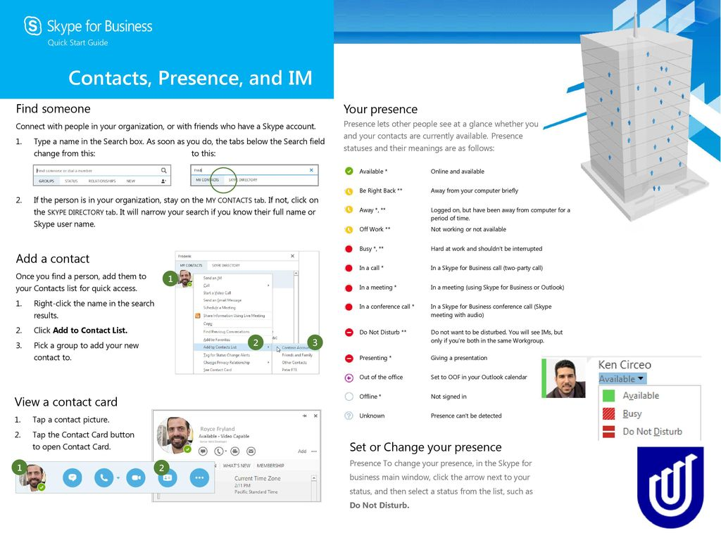 Microsoft® Skype For Business™ Quick Guide - ppt download