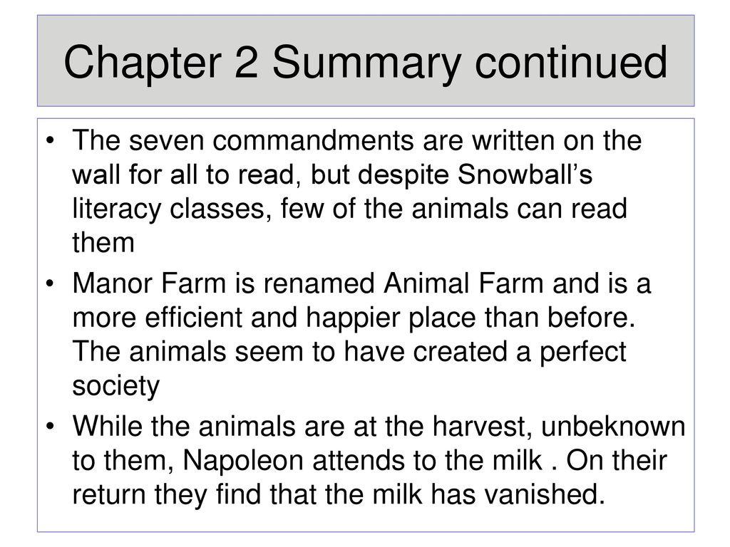 animal farm chapter 2 summary