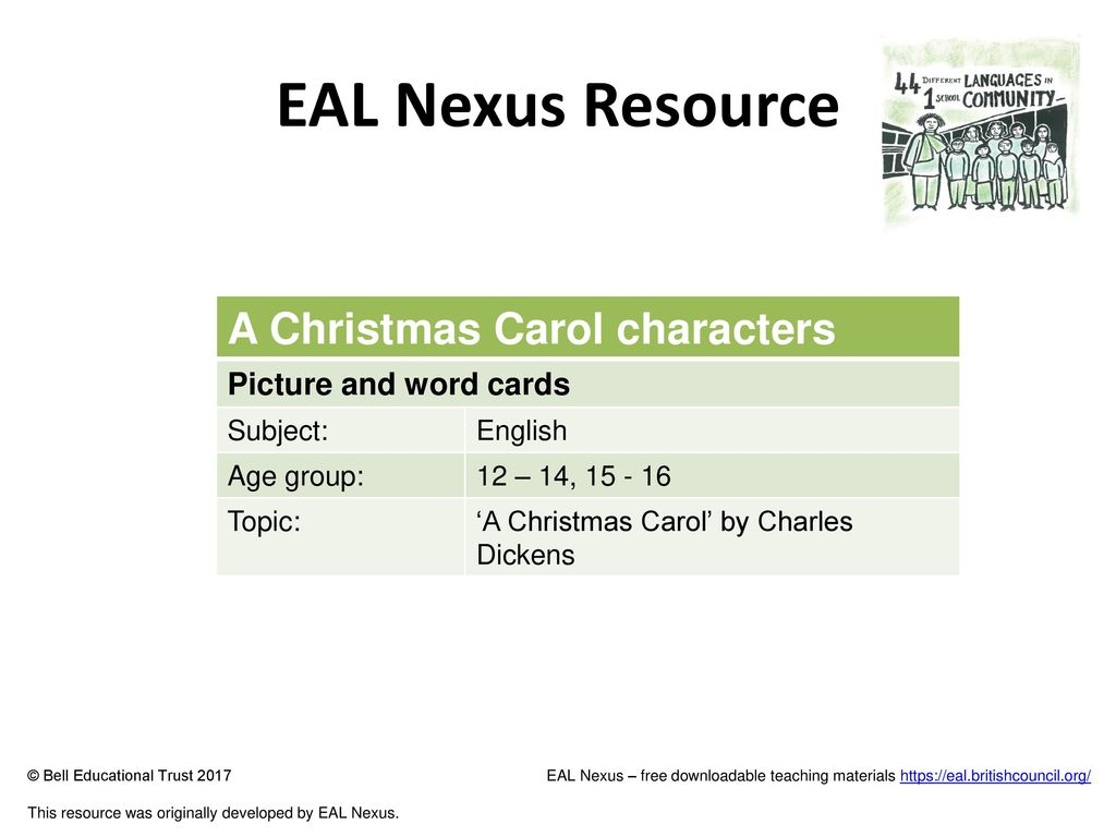 eal nexus resource a christmas carol characters picture and word cards