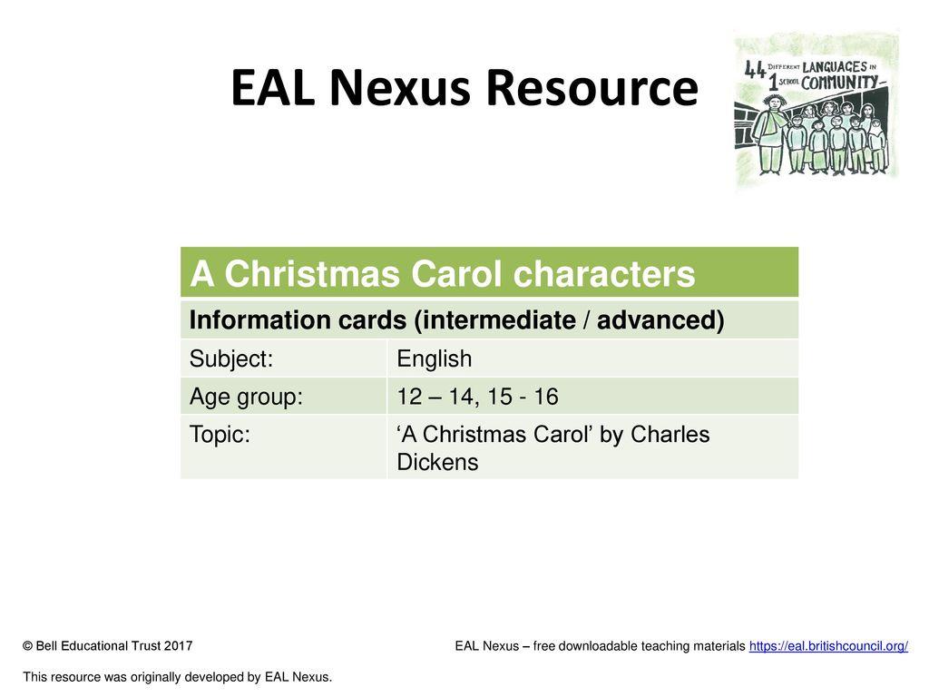 A Christmas Carol Characters.Eal Nexus Resource A Christmas Carol Characters Ppt Download