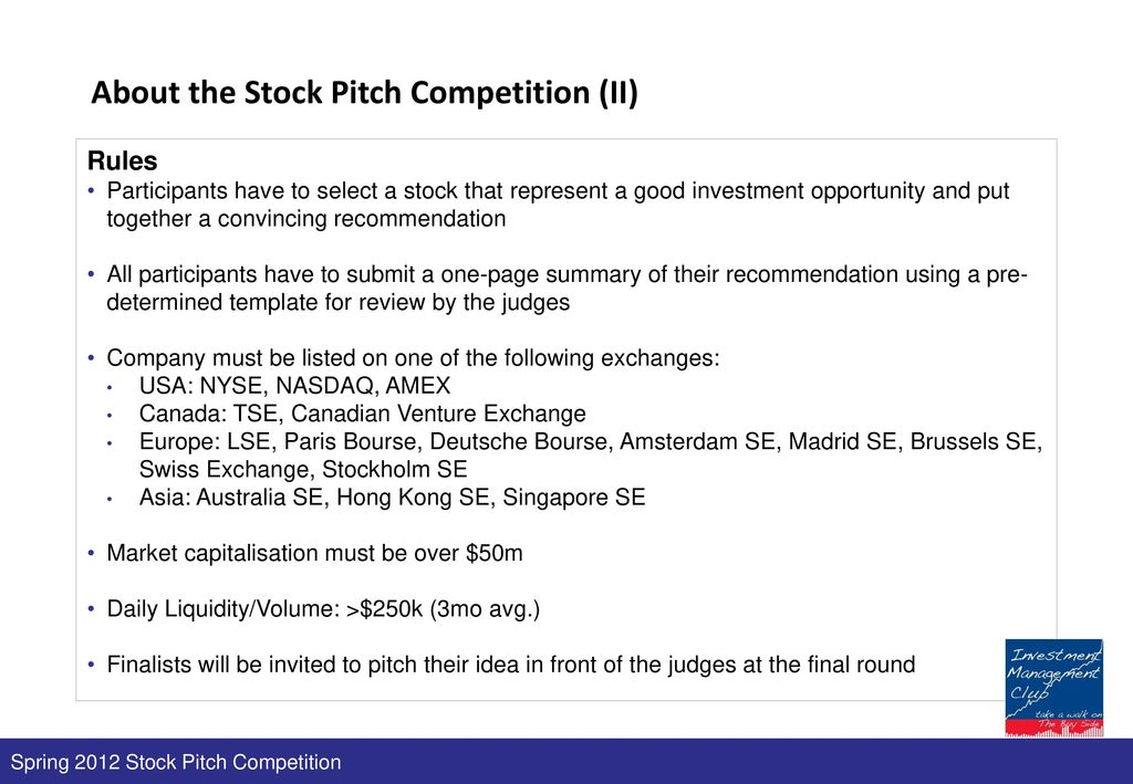 Spring 2012 stock pitch competition 23 february ppt download about the stock pitch competition ii maxwellsz