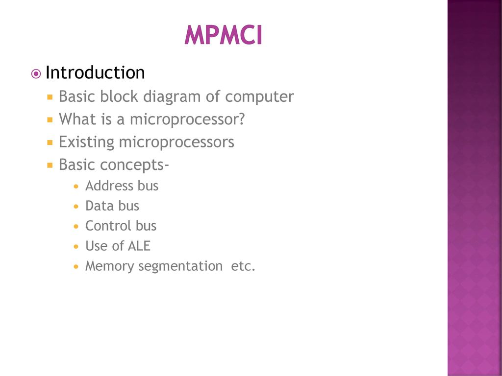 mpmci introduction basic block diagram of computer