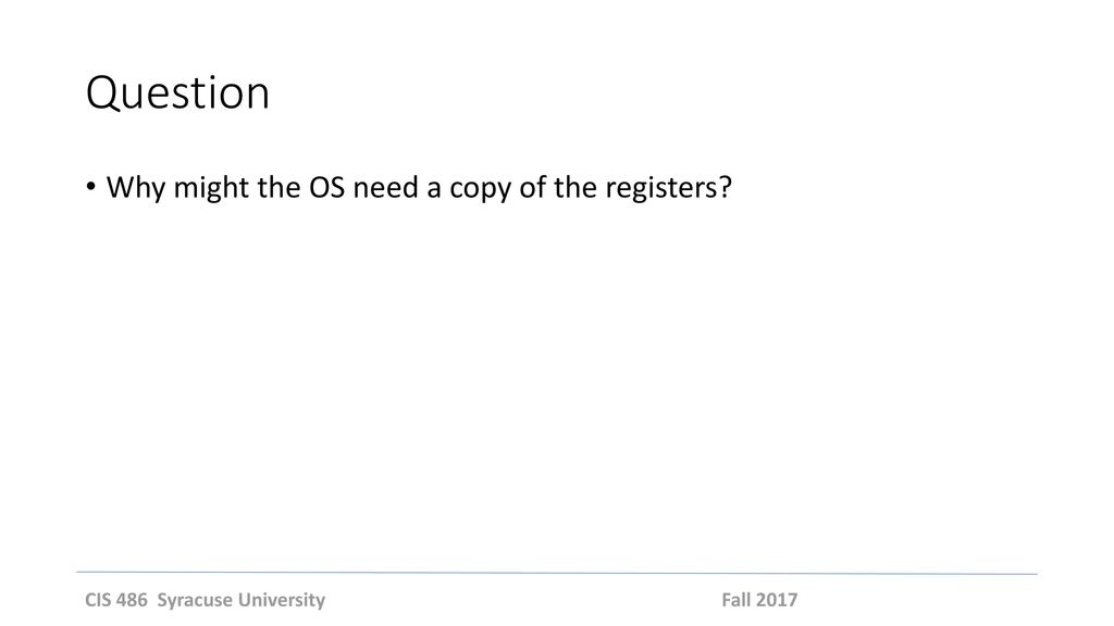 Question Why might the OS need a copy of the registers