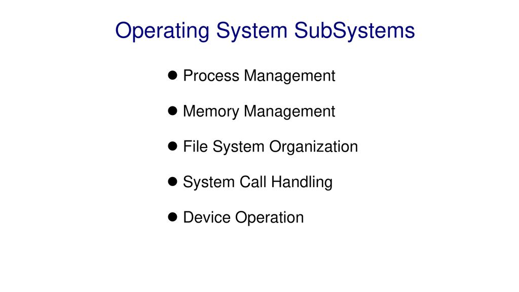 Operating System SubSystems