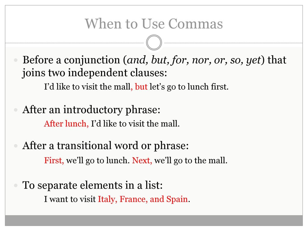 How to Use Commas recommend