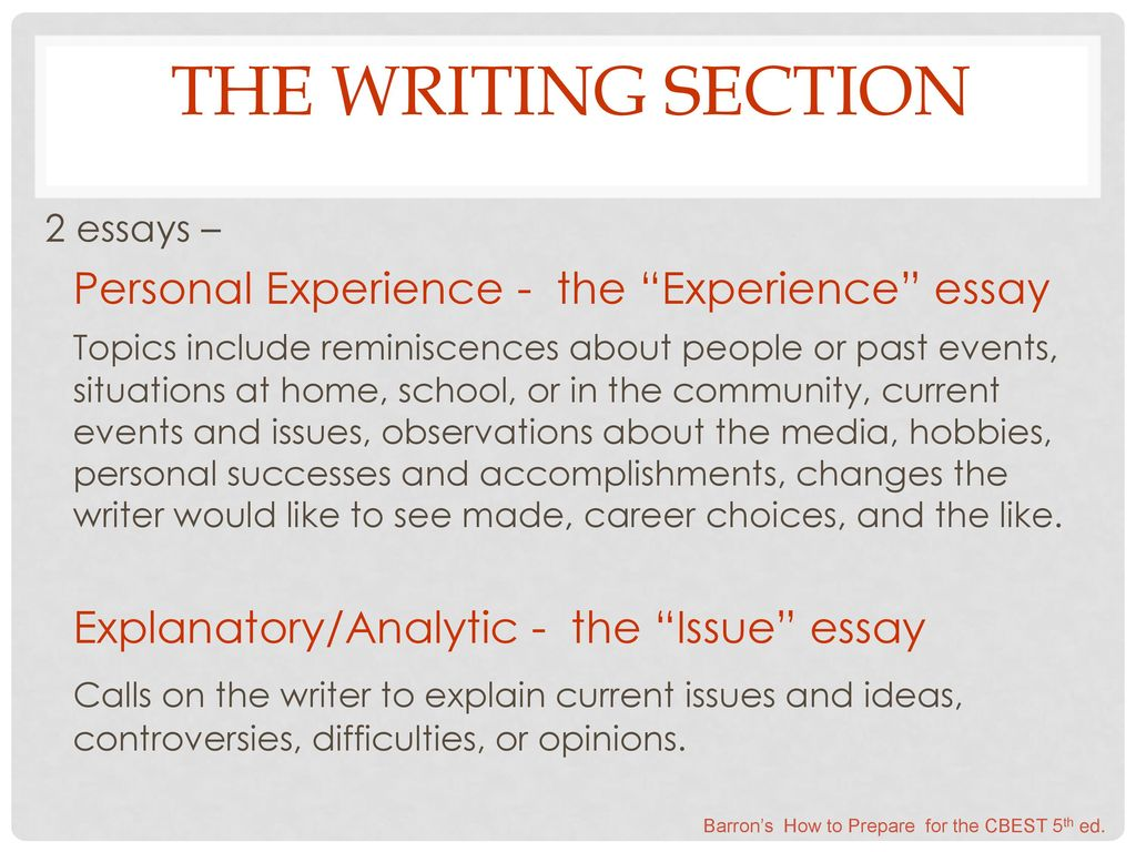 The Writing Section 2 Essays Personal Experience