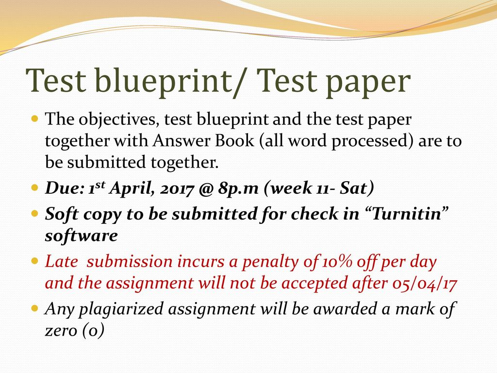 Edu704 assessment and evaluation ppt download test blueprint test paper malvernweather Choice Image