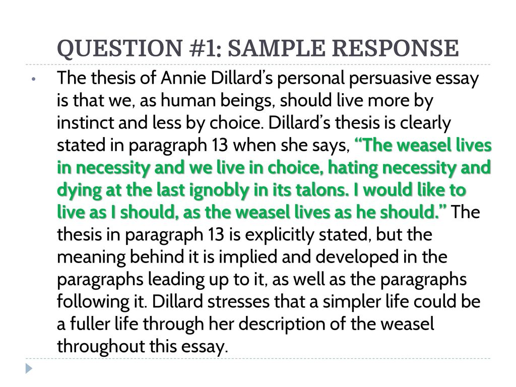 Science Essays Topics  Question  Business Plan Essay also Thesis Argumentative Essay Living Like Weasels Analyzing The Essay As A Class  Ppt Video  A Healthy Mind In A Healthy Body Essay