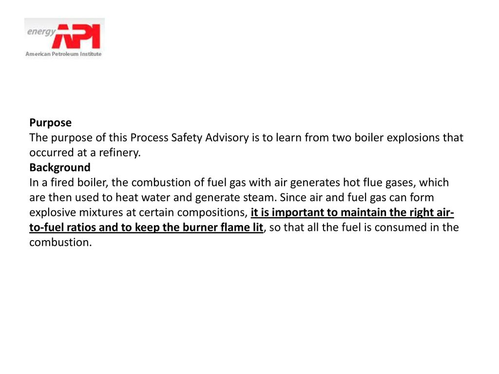 Process Safety Advisory on Boiler Incidents - ppt download