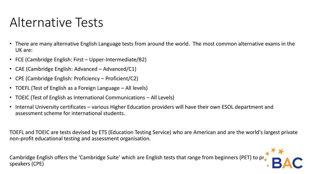 English Language Tests - ppt video online download