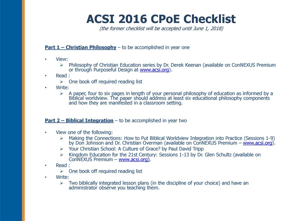 ACSI's Certification Process for K – 12 Teachers and