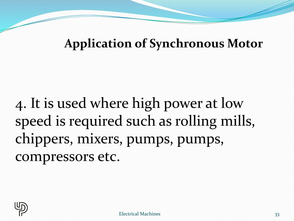 application of synchronous machine