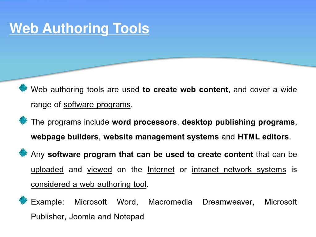 Css and web authoring software: controlling presentation.