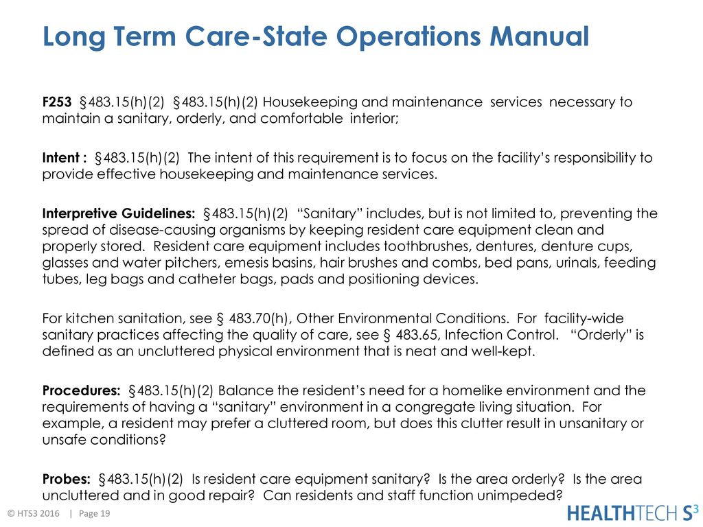 19 Long Term Care-State Operations Manual