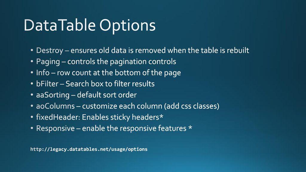 Customize Datatable