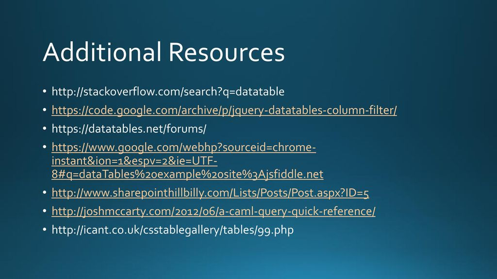 Rendering SharePoint lists using jQuery DataTables - ppt