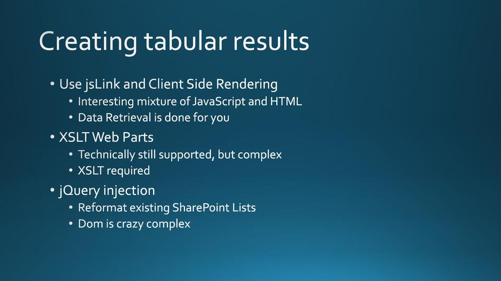 Rendering SharePoint lists using jQuery DataTables - ppt download