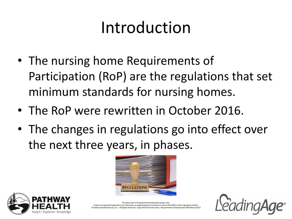 Introduction The nursing home Requirements of Participation (RoP) are the regulations that set minimum  sc 1 st  SlidePlayer & Food Safety Requirements Use and Storage of Food Brought to ...