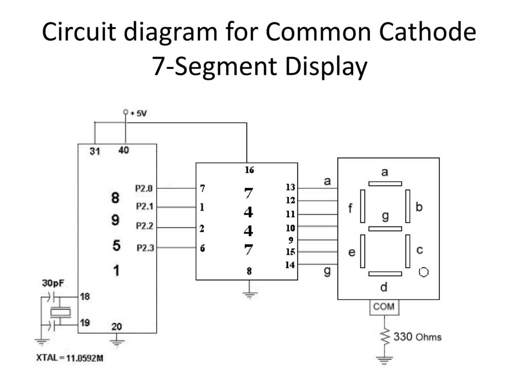 10 Circuit diagram for Common Cathode 7-Segment Display