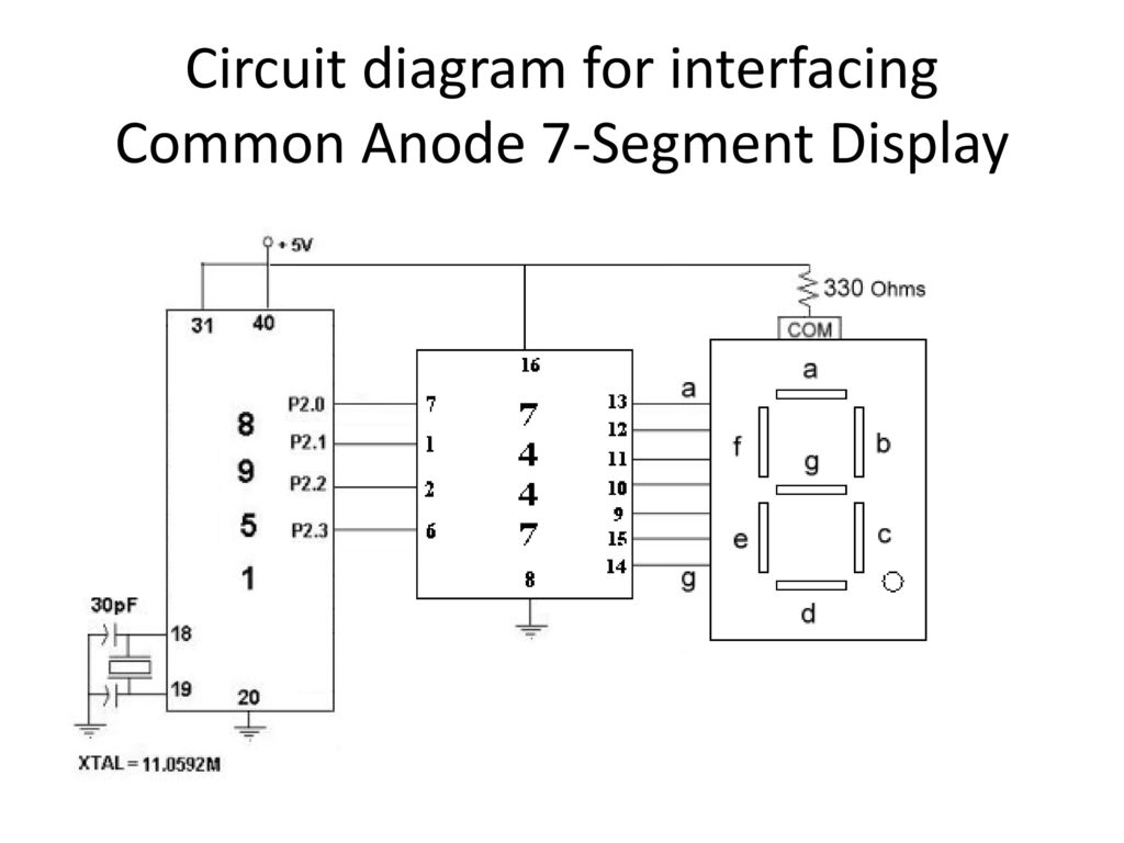 9 Circuit diagram for interfacing Common Anode 7-Segment Display