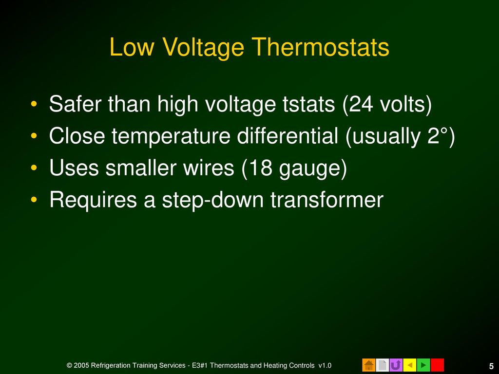 E3 Hvacr Controls And Devices Ppt Download Thermostat Heat Cool 2 Transformers Low Voltage Thermostats