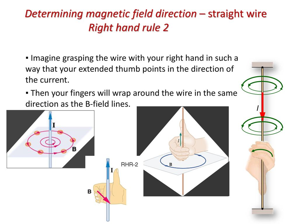 Determining magnetic field direction – straight wire Right hand rule 2