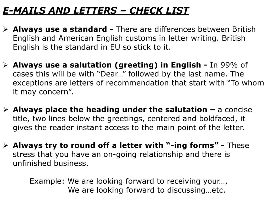 Useful Phrases For Writing Letters Last But Not Least Punctuation