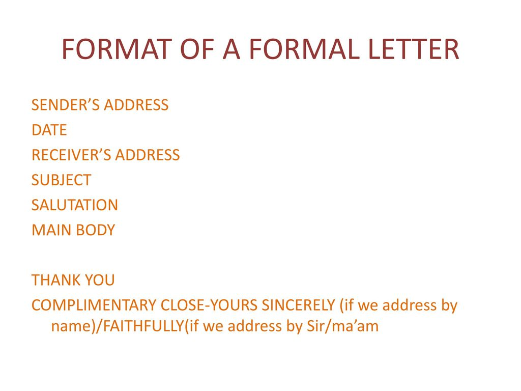 Letter writing a letter is a formal or informal piece of format of a formal letter spiritdancerdesigns Choice Image
