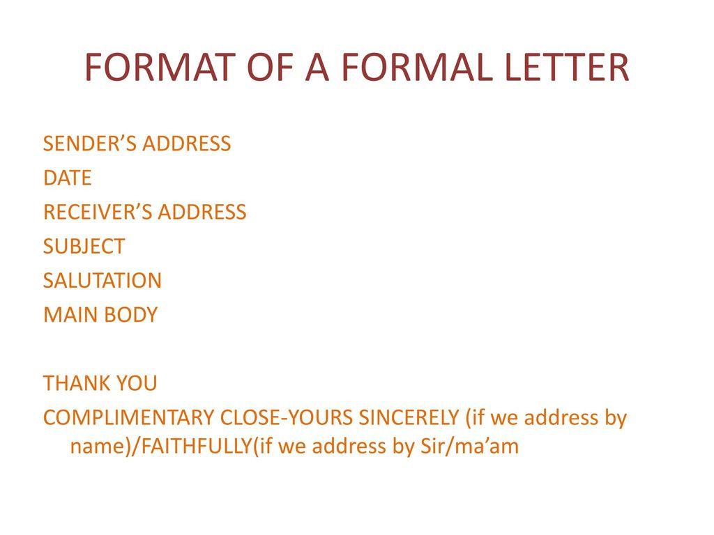 format of a formal letter