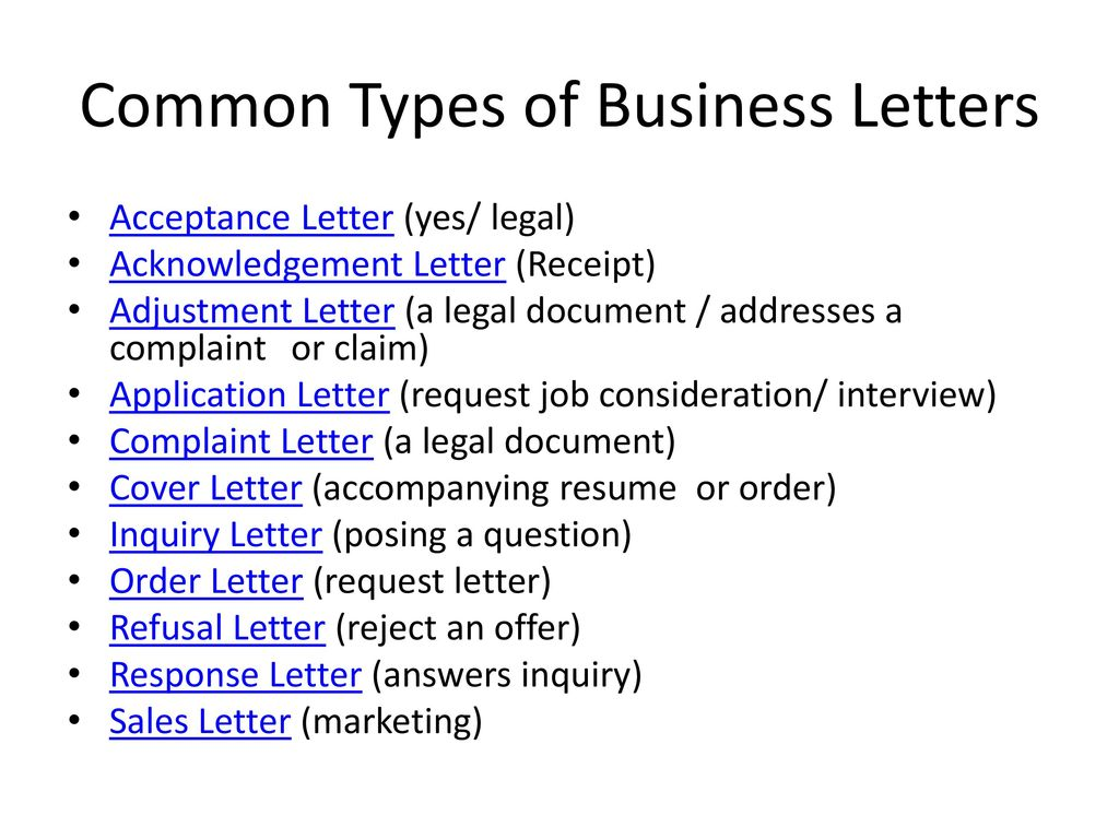 common types of business letters - Kind Of Business Letter