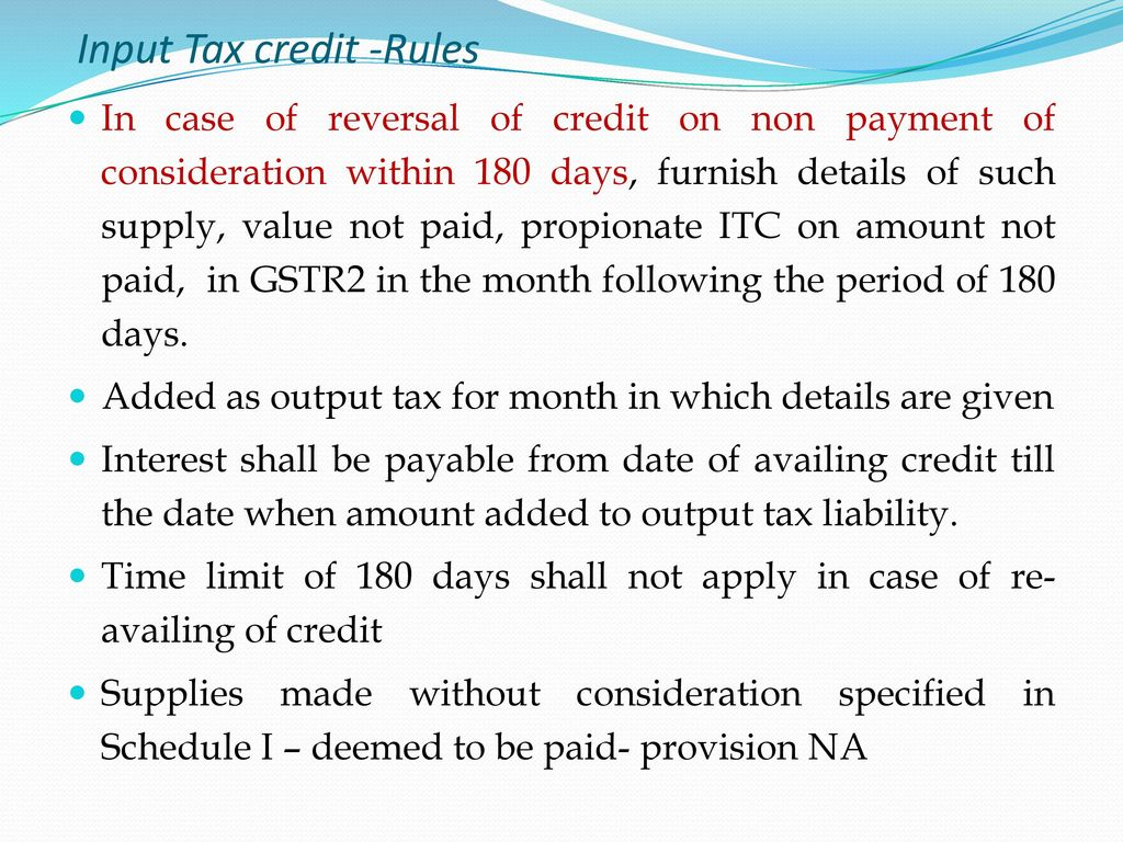 Input Tax Credit Rules