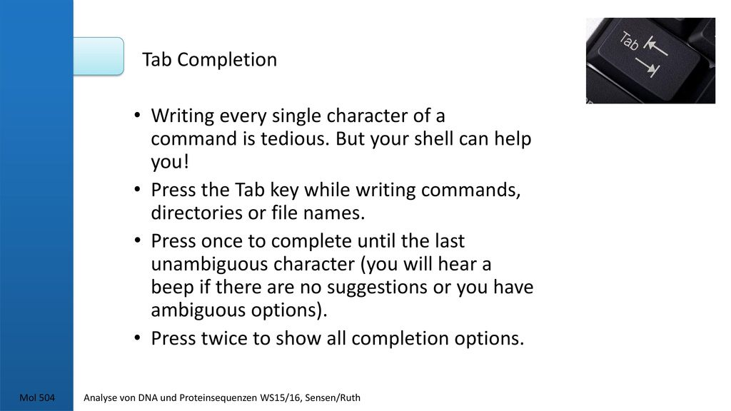 Tab Completion Writing every single character of a command is tedious. But your shell can help you!