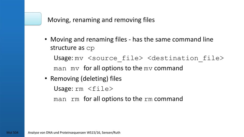 Moving, renaming and removing files