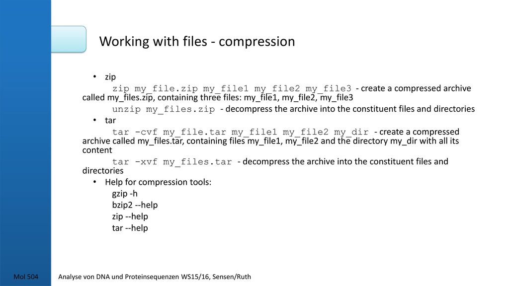 Working with files - compression