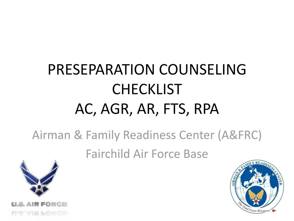 PRESEPARATION COUNSELING CHECKLIST AC, AGR, AR, FTS, RPA