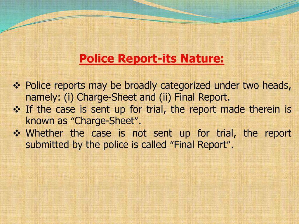 non cognizable report online