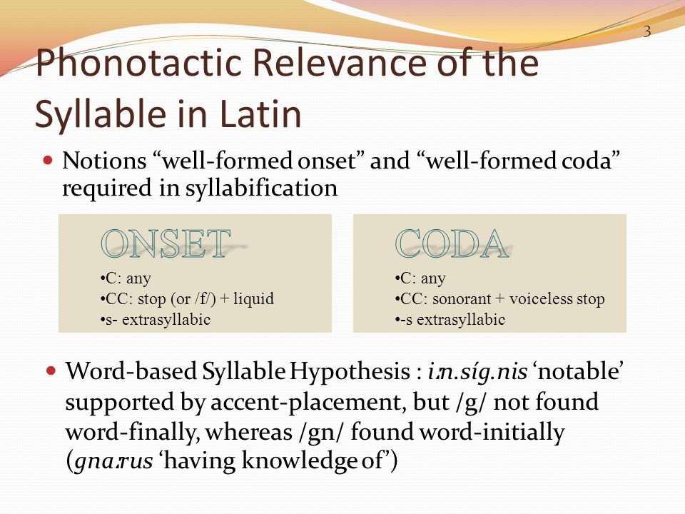 Phonotactic Relevance of the Syllable in Latin