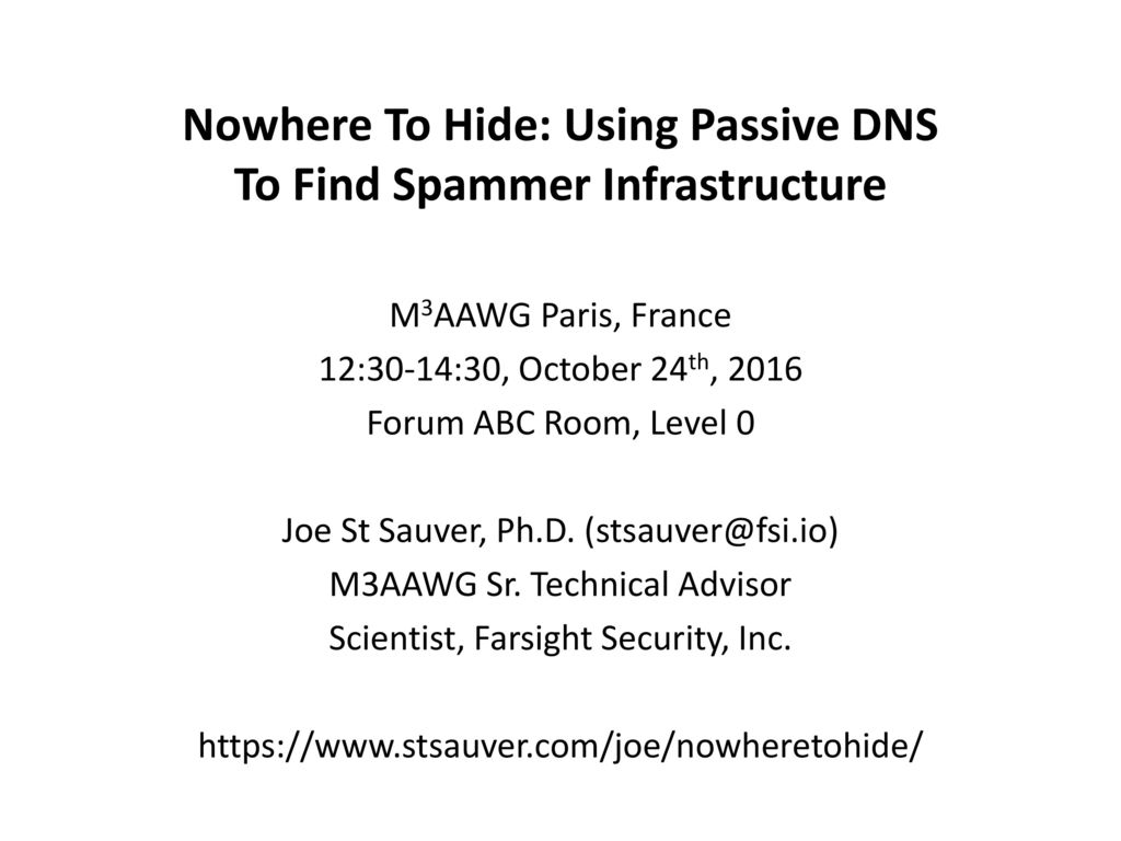 Nowhere To Hide: Using Passive DNS To Find Spammer