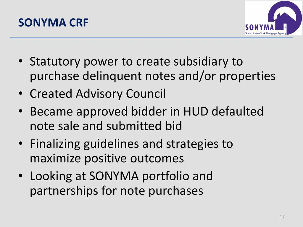 What's new with sonyma? Spring 2017 advisory council meeting