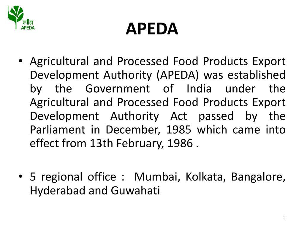 FINANCIAL ASSISTNACE SCHEME OF APEDA - ppt download