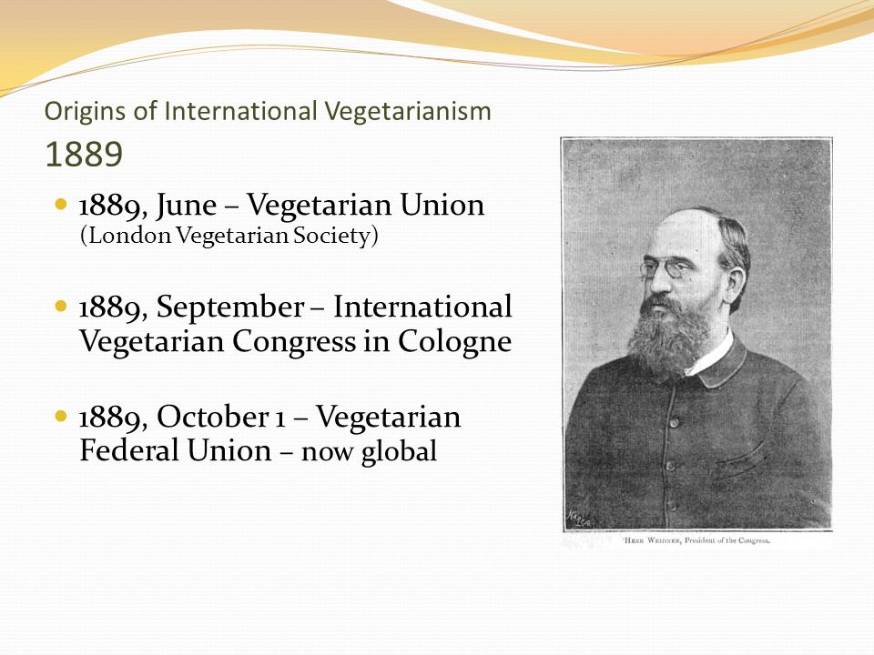 Origins of International Vegetarianism 1889